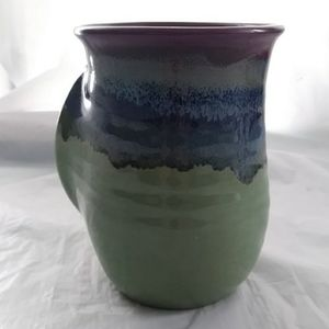 Other - Pottery Hand Warmer Mug Green Purple